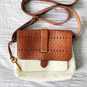 Fossil Boho tan and cream crossbody